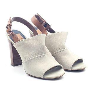 Dolce Vita Nadya beige slingback suede mules heels